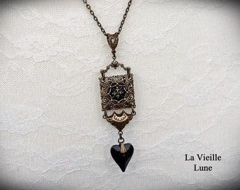 Jet Art Deco Necklace, Jet Mourning Necklace, Victorian Necklace, Gothic Mourning Necklace, Victorian Jewelry