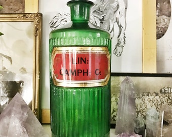 Antique English Label Under Glass Poison Bottle