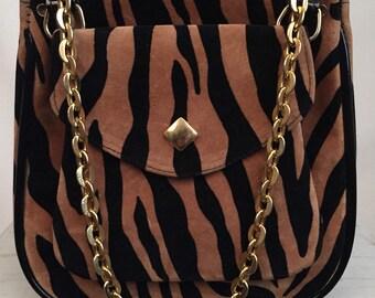 70's Murray Kruger Tiger Stripe Velvet and Black Patent Shoulder Bag with Adjustable Gold Chain