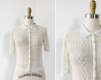 30s Crochet Cardigan XS/S • Short Sleeve Cardigan • White Crochet Top • Crochet Sweater • Crochet Top • Short Sleeve Sweater | T688
