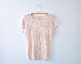 Dolman Sleeve Top XS/S/M • Cotton Sweater • 80s Sweater • Linen Sweater • Short Sleeve Sweater • Vintage Sweater • Pink Sweater | T558