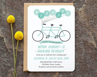 Modern Wedding Invitation / 'Tandem Bicycle' Fun Cycling Bike and Balloon Wedding Invite / Aqua Blue  / Custom Colors Available / ONE SAMPLE