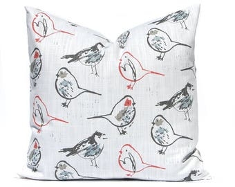 Decorative Pillow Cover - Throw Pillow Cover - Gray and Red Birds - Designer Cushion - Light Brick Red - Sofa Pillow Covers - Red Pillow