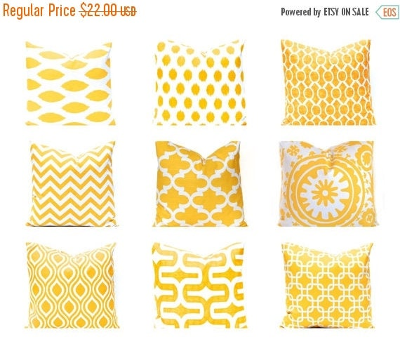 30% Off Sale Euro Sham, Yellow Pillow, Throw Pillow Cover, One Decorative Pillow Cover, Yellow Nursery Decor, 24 x 24 Inches - Yellow Mix an