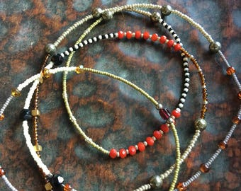 Long seed bead necklace   Neutral bead pattern with red accent   Boho necklace