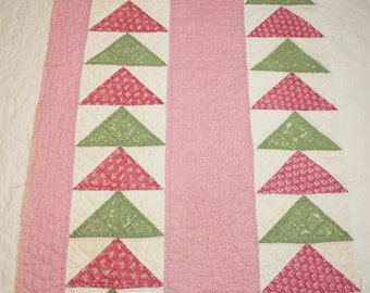 Sweet Primitive Double Pink and Green Flying Geese 1800s Antique Cutter Quilt Piece -  43 x 17 Inches