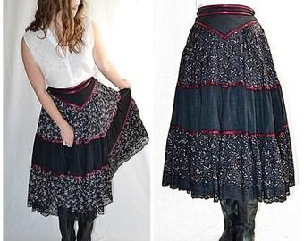 Vintage 1970s  Black Floral Gunne Sax Tiered Prairie Skirt With Dark Red Ribbon Trim 27 Inch Waist