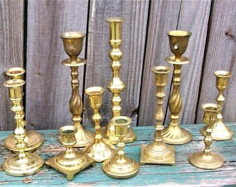 Set of 11 Vintage Brass Candleholders Wedding Decor