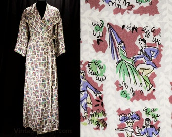 1940s Hollywood Robe - Estate of Starlet Gladys Glad - Ziegfeld Follies Girl - 40s Chivalry Courtship Novelty Print Rayon - Bust 38 - 48456
