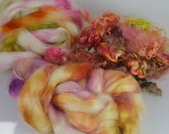 Spinning Felting Fleece Fiber Medley Wensleydale Roving Wensleydale Locks Kid Mohair 4 Ounces Colorway- Tulip