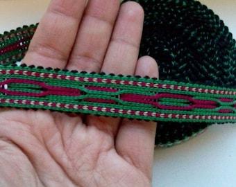 Uzbek handwoven green cotton trim Jiyak. Tribal ethnic, boho, hippy trim. TR031