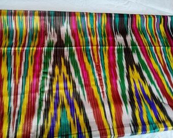 Uzbek vintage silk ikat fabric Han atlas 3 meters. VI006