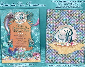 Dolphin Under the Sea Party Invitations, Under the Sea Birthday, Mermaid Dolphin Party Invitation