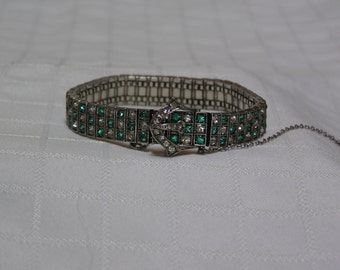 Art Deco sterling silver emerald green and clear rhinestones belt buckle bracelet