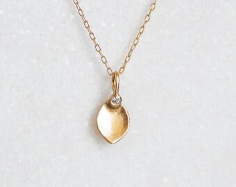 Diamond Lotus Petal Necklace - 14k gold Diamond Lotus Pendant