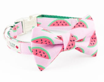 Watermelon Bowtie Dog Collar
