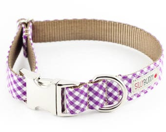Purple Gingham Dog Collar