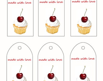 Printable Gift Tags Hand made with Love Labels Cup Cake PDF