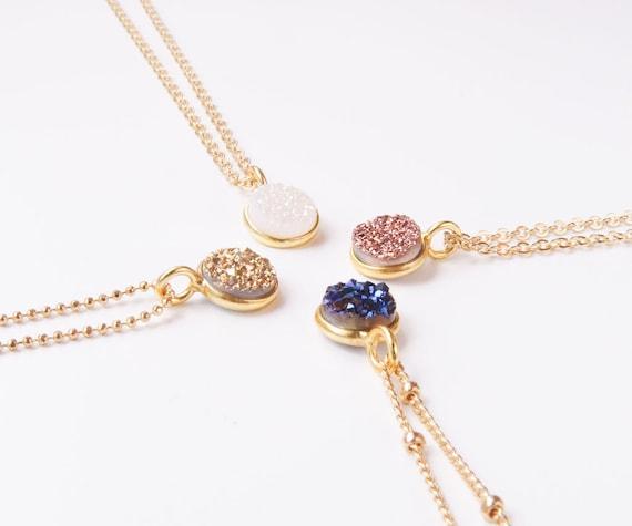 Gold Round Druzy Necklace | Gold Druzy Stone Necklace | Round Druzy Necklace | Rose Gold Druzy Necklace | Gold White Druzy Necklace |