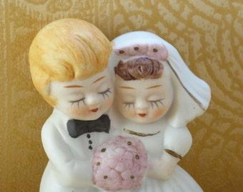 Vintage Bride and Groom Cake Topper / Lefton Cake Topper / Vintage Wedding Cake Topper / Vintage Wedding Memorabilia / Cake Topper/Wedding