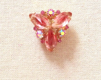 Vintage Pink Crystal Brooch