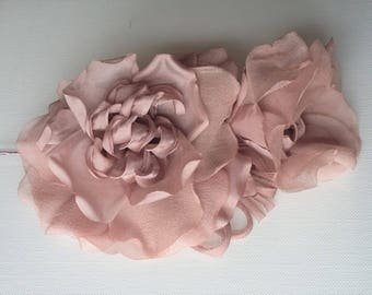 Extra Large Chiffon Rose - Nude/Mink - Facsinator/hat trim/ bridal/ races/ mother of the bride/millinery supplies