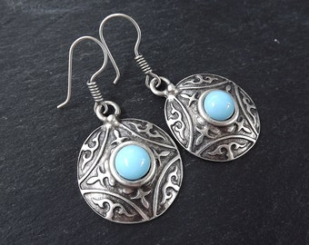 Tribal Dome Ethnic Fleur Silver Earrings with Pale Blue Glass Stone - Authentic Turkish Style