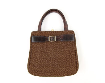 VINTAGE Brown Buckle Handbag Fabric