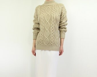 VINTAGE Womens Cable Knit Sweater 1980s
