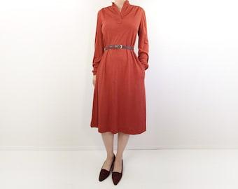 VINTAGE 1970s Shirt Dress Jersey Longsleeve