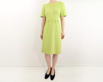 VINTAGE Lime Green Dress Knit Shortsleeve