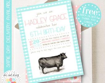 Vintage Farm Invitation, Farm Birthday Invitation, Farm Birthday Party, Farm Party Invitation, Vintage Cow Invitation, BeeAndDaisy