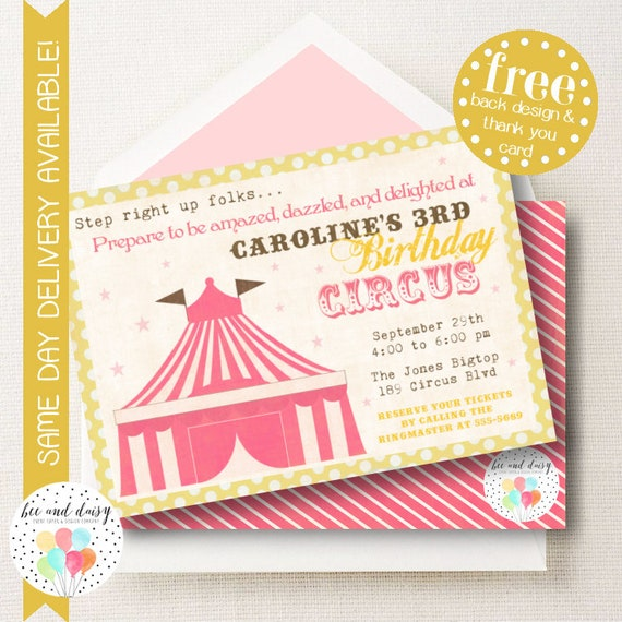 Pink Circus Invitation, Circus Birthday Invitation, Circus