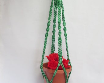 MACRAME Plant Hanger Vintage Style 40 inch 6mm Lettuce (Mixed Green)