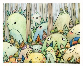 Monster Forest 8x10inch Original Watercolor Painting