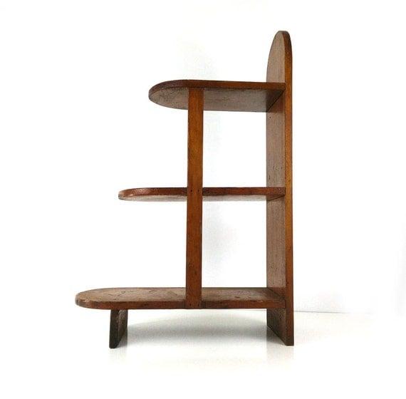 Vintage 3 Tier End Table Wood Book Shelf Side Table