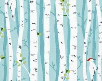 Michael Miller Backyard Baby Birch Forest Aqua; Nursery Decor, Crib Bedding, Baby Blankets, Curtains, Baby Bedding, Pillow Cases