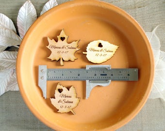 80 Wood Leaf Wedding Favors Personalized Wood Leaves