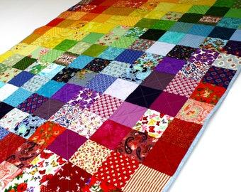 Rainbow quilt, rainbow patchwork quilt, modern patchwork quilt, bright rainbow quilt, childrens quilt, LGBT quilt, sofa throw, UK quilt