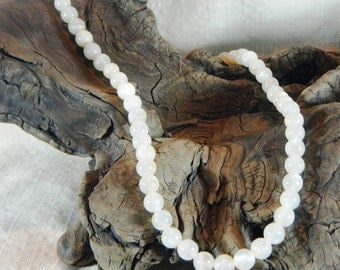 """Creamy white moonstone necklace 22"""" long Moon ceremony cream ecru gemstone semiprecious stone jewelry packaged in a colorful gift bag  12228"""