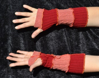 orange and red striped arm warmers