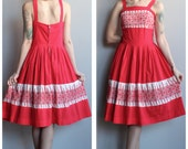 1950s Dress // Bright Red Embroidered Eyelet Dress // vintage 50s dress