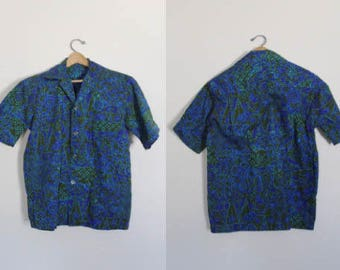 Mens Vintage Hawaiian Shirt / Vintage Hawaiian Shirt / Vintage Cotton Bark Cloth Hawaiian Shirt / Hawaiian Shirt / Size Medium