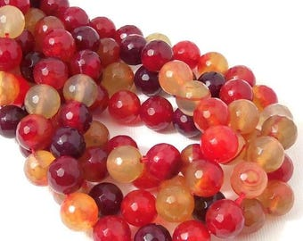 "Fired Agate Beads, 10mm, Red, Burgundy, Yellow, Amber, Round, Faceted, Multi Colored, Gemstone Beads, Large, 15"" Full Strand - ID 2273"