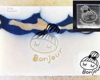 SoapRepublic Bonjour ~ Good day Acrylic Soap Stamp / Cookie stamp