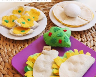 INSTANT DOWNLOAD-Mexican Felt Food Patterns- Printable PDF