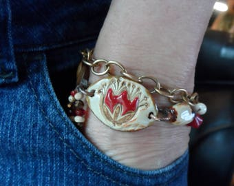 Earthy Pottery beaded Bracelet One of a kind Red Tulip Spring Jewelry