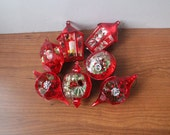 Vintage Red Diorama Christmas Ornaments