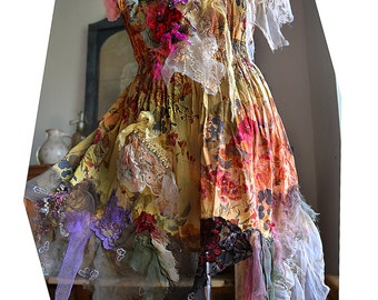 Unique Art To Wear Romantic Tunic/Top HOT FLOWERS Cinderella Boho Gipsy Fairy Tattered