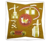 RETRO HANKIE Chicago Tammis Keefe Mid-Century Signed Mrs Olearys Cow Landmarks  Linen, Hand Rolled Hem Excellent Condition